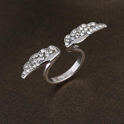 Vintage ajustável banhado a ouro asa de anjo Cristal strass moda charmoso anel de Design para os amantes