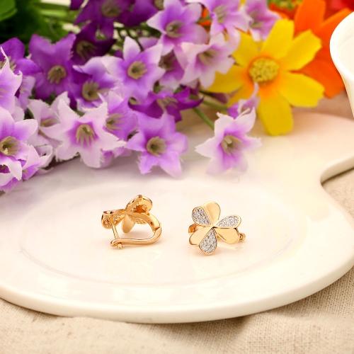Miedź Stożek 18K Rose Złoty Pozłacany 3-liści Clover Zircon Stud kolczyk Prezent Biżuteria dla Kobiet Lady