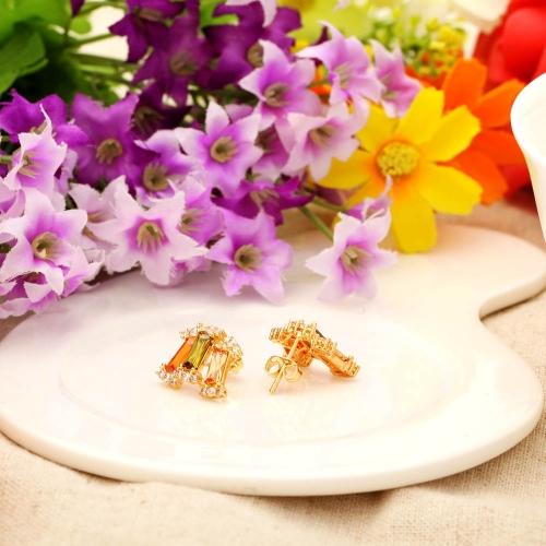 Liga de cobre 18k ouro chapeado Zircon Stud brincos jóias presente para mulheres senhora