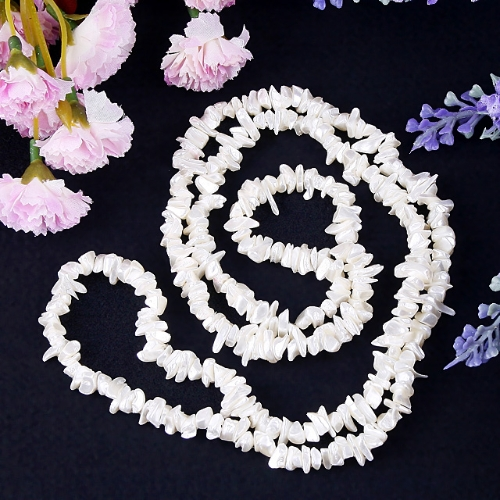 Natural white shell chips loose strand beads 35