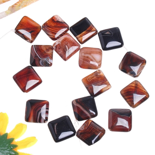 20x20MM Gray Stripe Onyx Agate Square Loose Beads