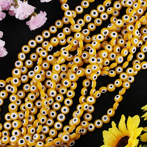 ON SALE*8MM YELLOW ROUND EYES LAMPWORK GLASS LOOSE BEADS