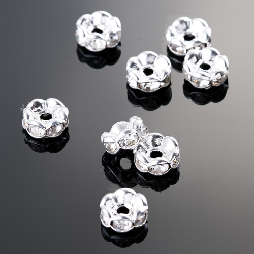 10pcs WHITE CRYSTAL SPACER LACY RONDELLE BEADS 6MM jlm1