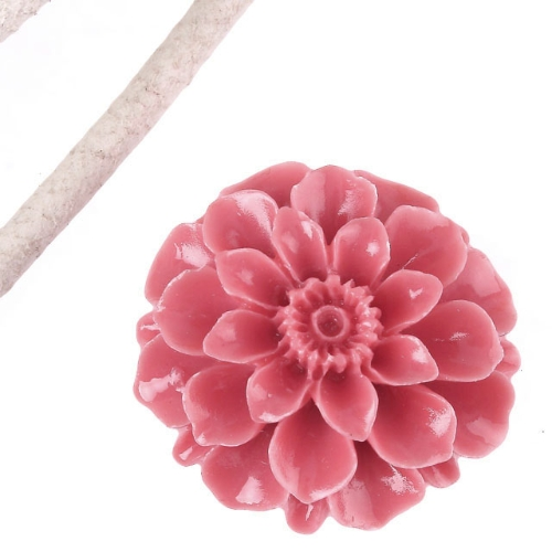 35MM Pink Coral Carved Flower Pendant Bead jpf18