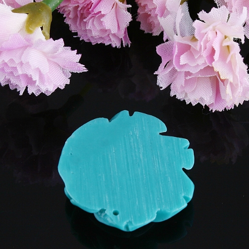 35MM Green Coral Carved Flower Pendant Bead jpf25