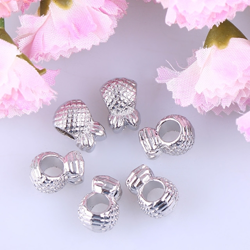 Enamel White Strawberry Silver Bead  jpq182