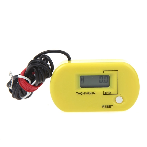 Digital Hour/Tach Meter Gauge Tachometer Resettable LCD 99999h / 60000RPM Yellow