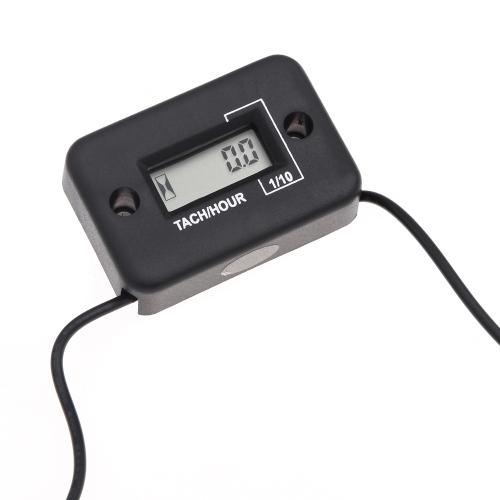 Impermeable Cronómetro Tach tacómetro digital LCD Medidor de 4 tiempos de gasolina Motor de la motocicleta ATV Motonieve Barco Negro