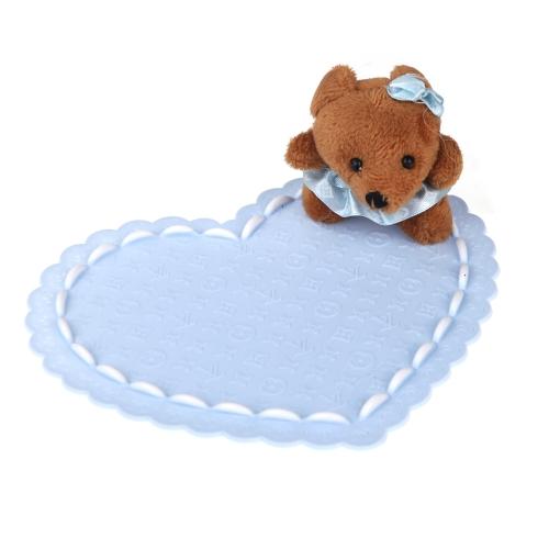 Auto Car Non-slip Mat Mobile Phone Bear Doll Slip-resistant Heart Pad Blue
