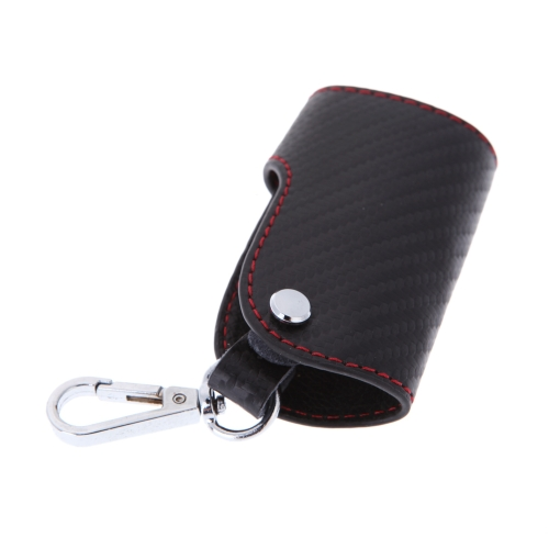 3D Carbon Fiber PU Leather Key Holder Cover for Remote Smart Key Universal
