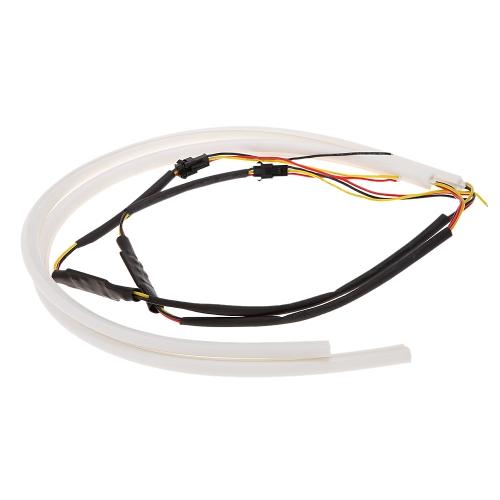 2*45cm LED Car Daytime Running Light Strip Tube Style DRL Driving Lamp White+Yellow Light 12V