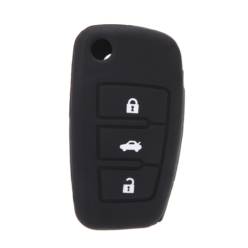 Silicone Skin Car Remote Fob Shell Key Holder Case Cover for Audi A6L Q7 TT R8 A3 A4L(2009) 3 Buttons