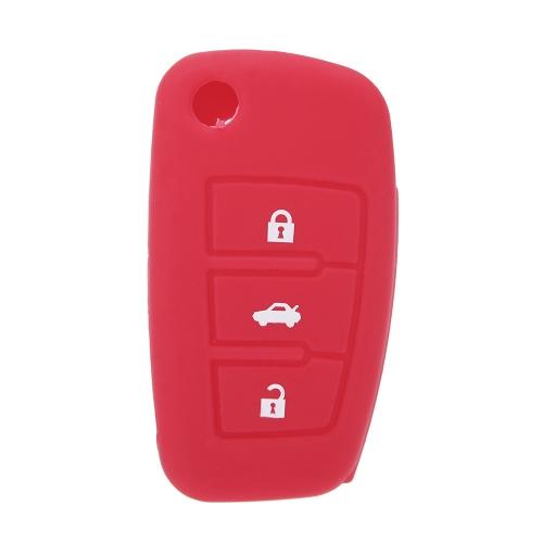 Peau voiture télécommande Shell porte-clés Housse étui silicone pour Audi A6L Q7 TT R8 A3 A4L(2009) 3 boutons