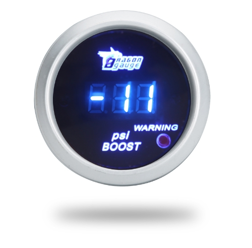 Digital Turbo Boost Gauge Meter with Sensor for Auto Car 52mm 2in LCD -14~29 PSI Warning Light Silver