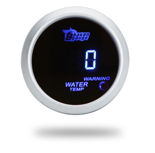 Digital Water Temperature Meter Gauge with Sensor for Auto Car 52mm 2in LCD 40~120Celsius Degree Warning Light Silver