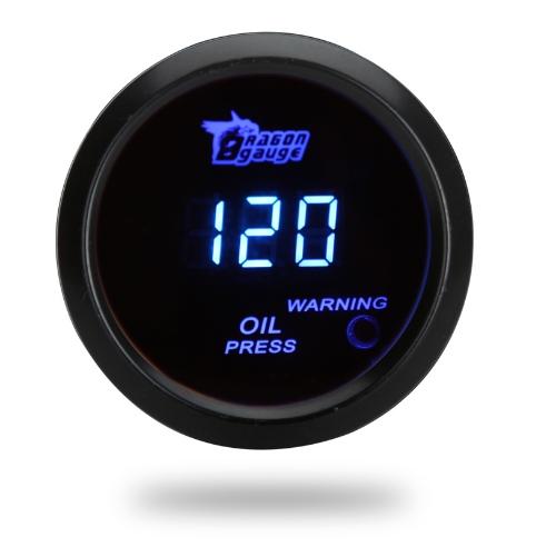 Cyfrowy miernik ciśnienia oleju z czujnikiem dla samochodu samochodowego 52mm 2-calowy LCD 0 ~ 120PSI Ostrzeżenie Light Black