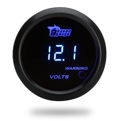 Jauge compteur numérique de la tension pour Auto voiture 2 mm 52 pouces LCD 0 ~ 15V Warning Light Black