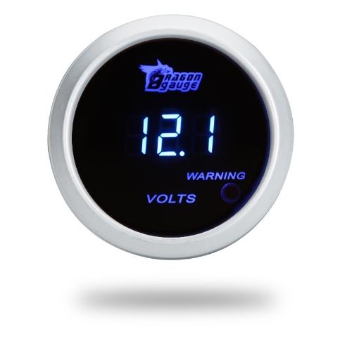 Calibrador del metro digital de voltaje para Auto coche 52mm 2 pulg LCD 0 ~ 15V ADVERTENCIA luz plata