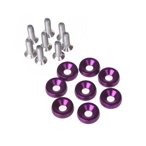 8pcs Bumper Washer & Bolts Kit Set Aluminum Alloy Purple