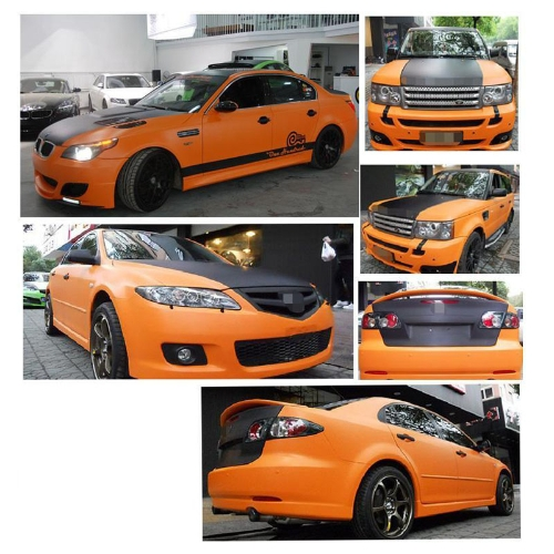 127*30CM 3D Carbon Fiber Film Vinyl Sticker Car Body / Interior Decoration Orange