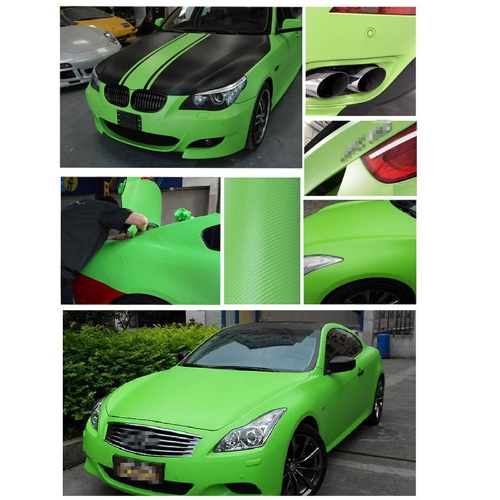 127*30CM 3D Carbon Fiber Film Vinyl Sticker Car Body / Interior Decoration Green