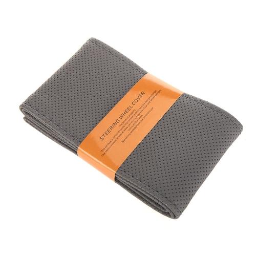 Volant de voiture bricolage couverture simili cuir couture avec une aiguille à la main et fil gris
