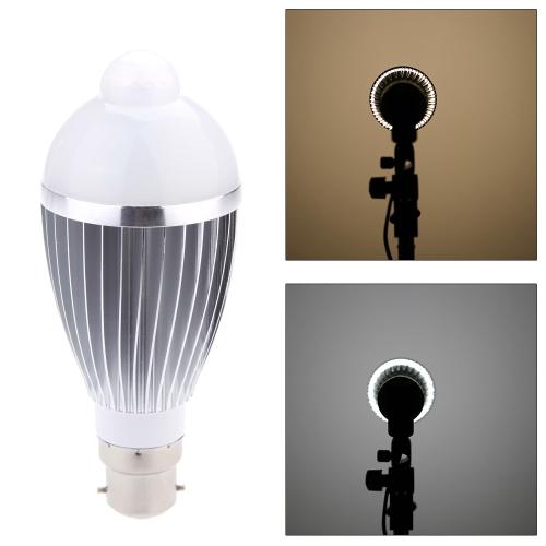 B22 9W LED Infrared PIR Human Motion & Light Sensor Auto Detection Bulb Lamp 85-265V