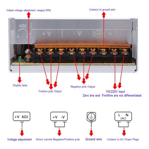AC 110V/220V to DC 5V 60A 300W Voltage Transformer Switch Power Supply for  Led Strip