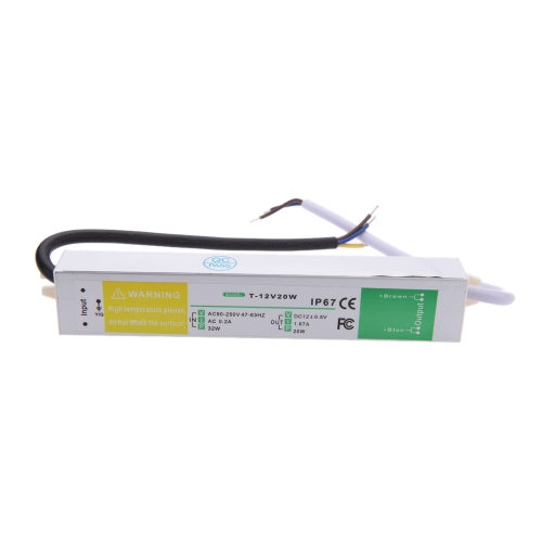 AC 90-250V to DC 12V 1.67A 20W Voltage Waterproof IP67 Transformer Switch Power Supply for Led Strip