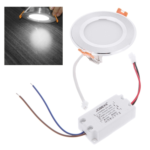 3W Round LED Recessed Ceiling Panel Light Down Lamp Ultra Thin Bright for Living Room Bathroom Bedroom Kitchen AC100-240V