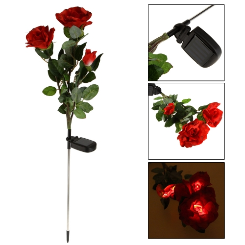 Outdoor Powerfrugal Solar Power Water Resistant 3 Rose Flower LED Lamps Ni-MH Battery Landscape for Garden House Decoration