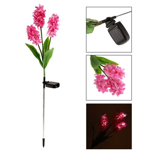 Outdoor Water Resistant Powerfrugal Solar Power Ni-MH Battery Landscape 3 Hyacinth Flowers 9 LED Lamps for Garden House Decoration