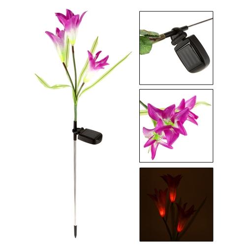 Открытый водонепроницаемый пейзаж света Powerfrugal солнечной энергии Ni-MH батареи цвет меняется 3 лампы LED Лилия цветок для украшения сада Дом