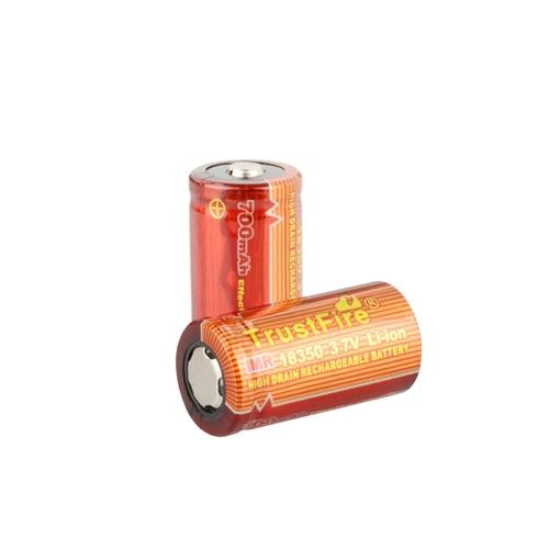 TrustFire 2PCS 18350 700mAh 3.7V IMR wiederaufladbare hohe Ablass-Batterie für elektronische Rauch-Taschenlampe