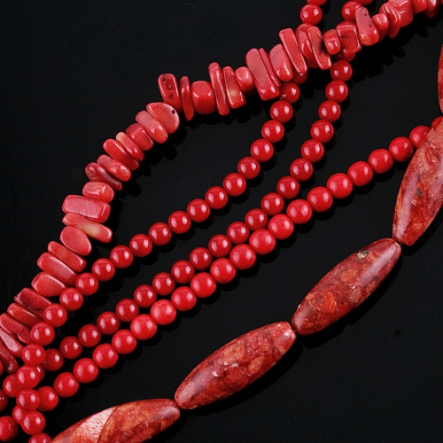 PROMOTION!! 5 STRAND WHOLESALE RED CORAL LOOSE BEAD 15.5