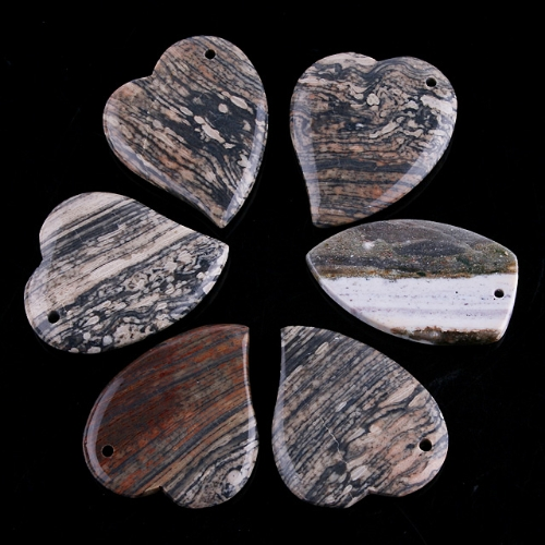 PROMOTION!! 6PCS UNIQUE WHOLESALE LOTS JASPER PENDANT BEAD MS025