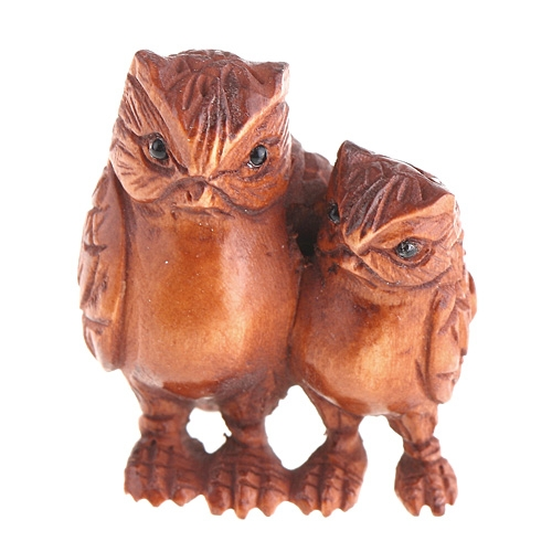 Hand Carved Boxwood Wood Ojime Bead 2 Night owl