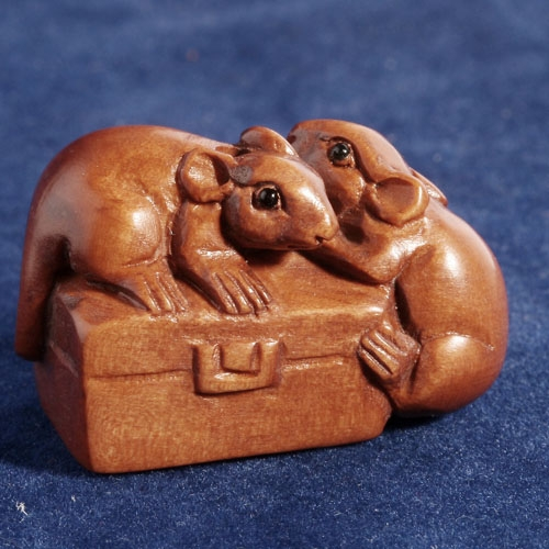 Handwork Boxwood Wood Ojime Bead 2 Mouse On Box