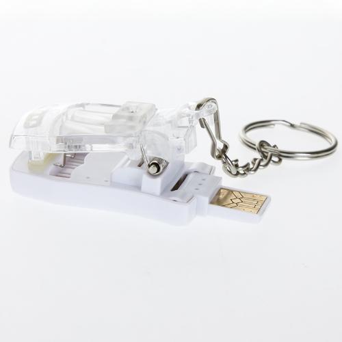Mini Fashion Portable USB Universal Charger Key Ring White