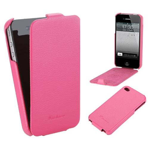 Genuíno caso de couro para iPhone 4/4s Rose