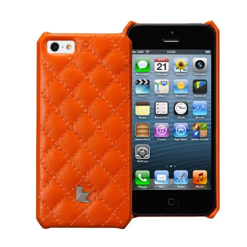 Jisoncase Matelasse genuíno caso de couro para iPhone 5
