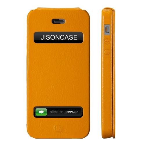 Jisoncase Flip executivo caso capa para iPhone 5