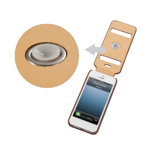 Jisoncase Genuine Leather Flip Etui Housse pour iPhone 5