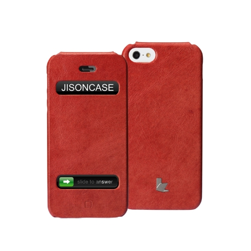 Jisoncase genuíno Flip caso tampa de couro para iPhone 5