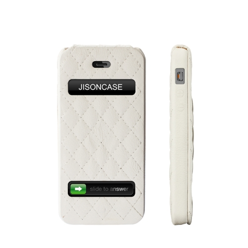 Jisoncase Flip Matelassê caso tampa de couro para iPhone 5