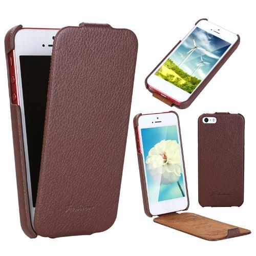 Moda de luxo Flip genuíno couro Slim Case capa para iPhone 5 Brown