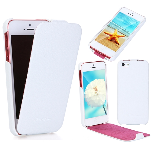 Mode luxe Flip Genuine Leather Slim Etui Housse pour iPhone 5 blanc