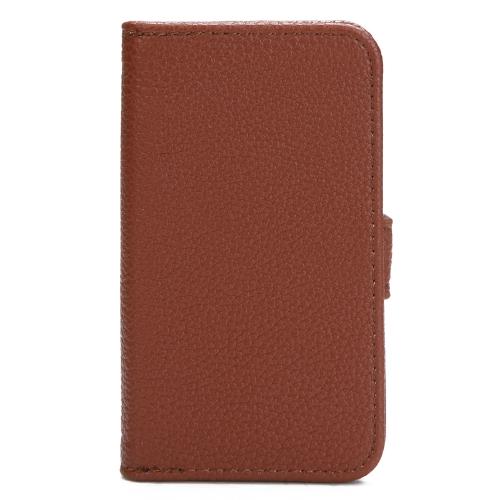 Moda carteira caso Flip Stand tampa de couro com suporte de cartão para iPhone 4 4s 4 g marrom