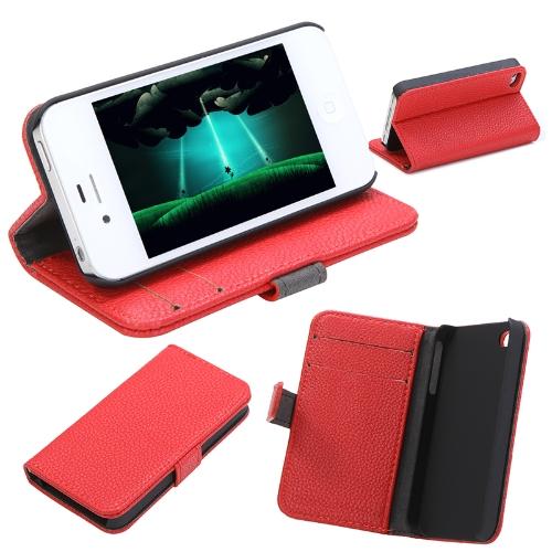 Moda carteira caso Flip Stand tampa de couro com suporte de cartão para iPhone 4 4s 4 g vermelho