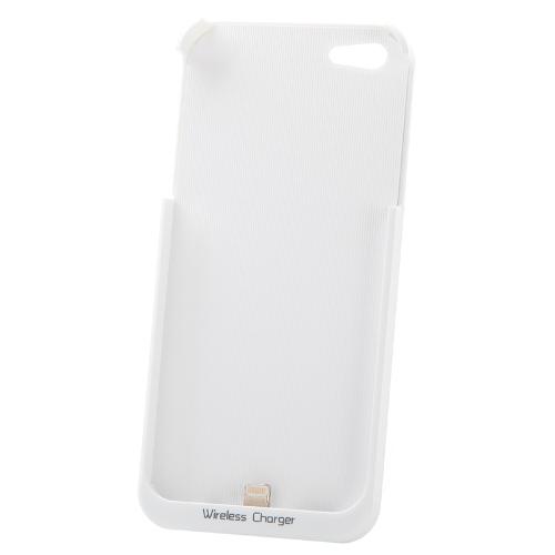 Qi 標準ワイヤレス充電器レシーバー ジャケット バックアップ iPhone ケース 5 ホワイト
